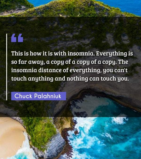 This is how it is with insomnia. Everything is so far away, a copy of a copy of a copy. The insomnia distance of everything, you can't touch anything and nothing can touch you.