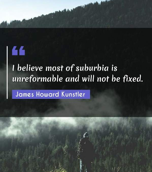 I believe most of suburbia is unreformable and will not be fixed.