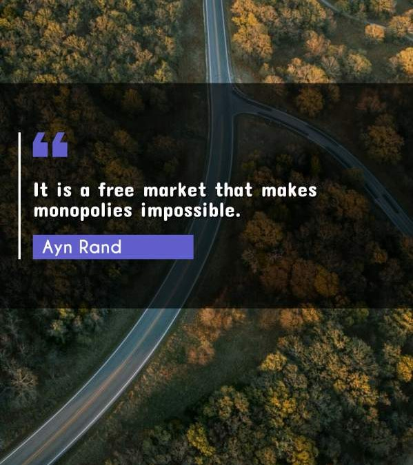 It is a free market that makes monopolies impossible.