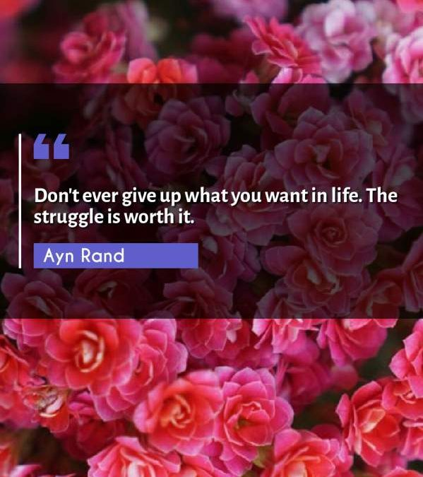 Don't ever give up what you want in life. The struggle is worth it.