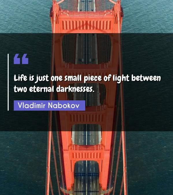 Life is just one small piece of light between two eternal darknesses.