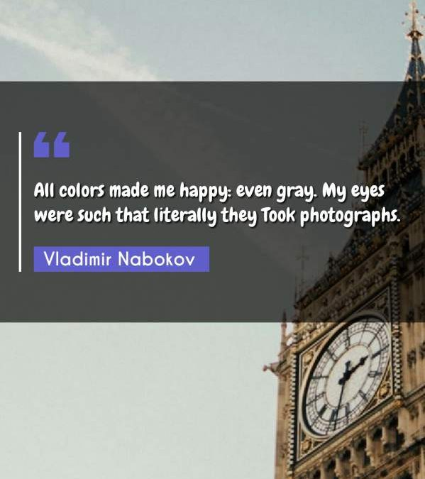 All colors made me happy: even gray. My eyes were such that literally they Took photographs.