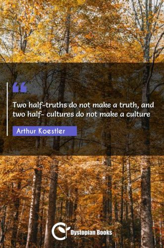 Two half-truths do not make a truth, and two half- cultures do not make a culture
