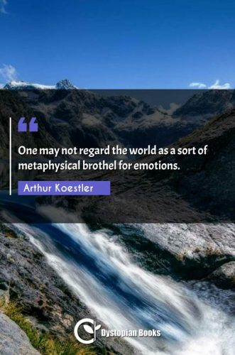 One may not regard the world as a sort of metaphysical brothel for emotions.