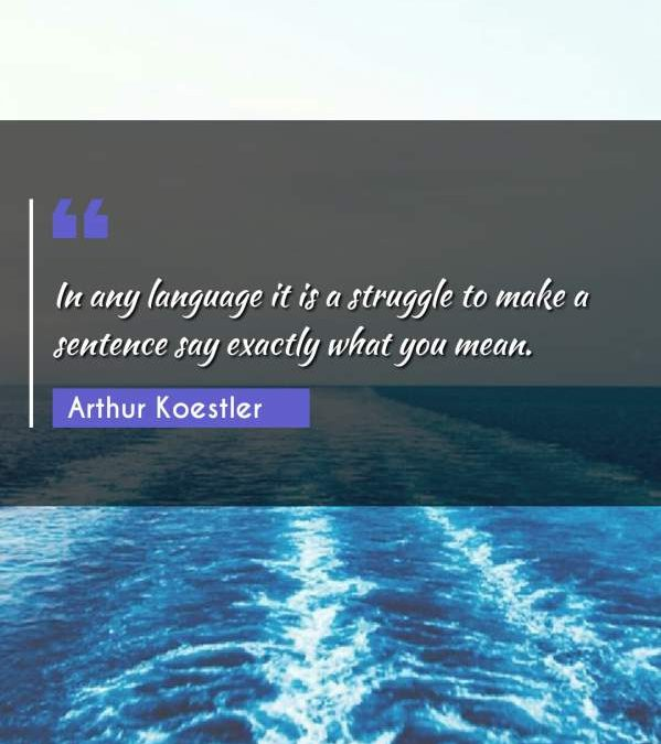 In any language it is a struggle to make a sentence say exactly what you mean.