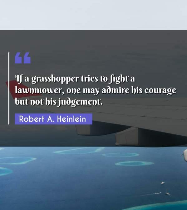 If a grasshopper tries to fight a lawnmower, one may admire his courage but not his judgement.