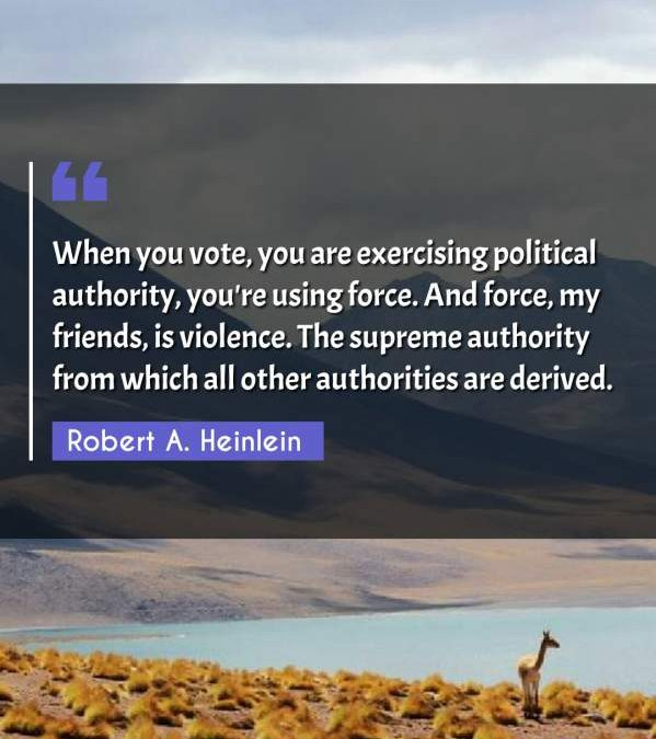 When you vote, you are exercising political authority, you're using force. And force, my friends, is violence. The supreme authority from which all other authorities are derived.