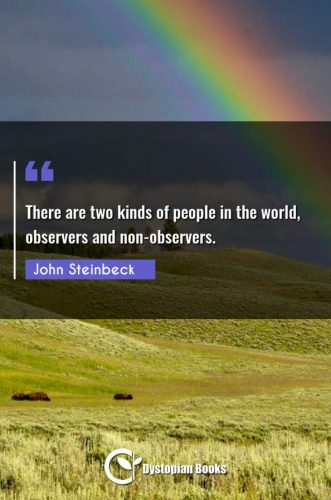 There are two kinds of people in the world, observers and non-observers.