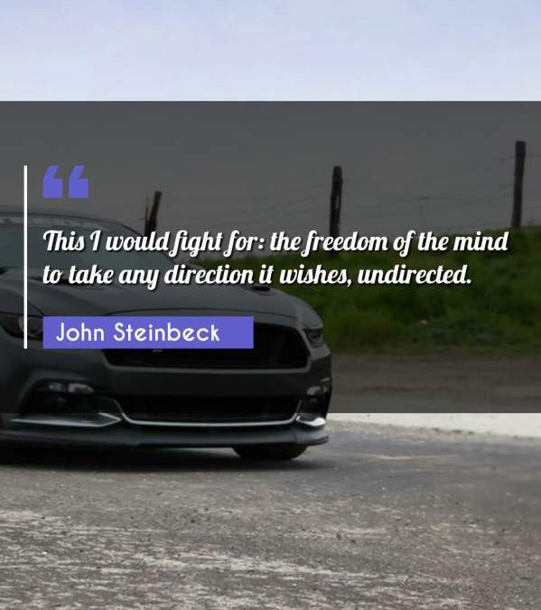 This I would fight for: the freedom of the mind to take any direction it wishes, undirected.