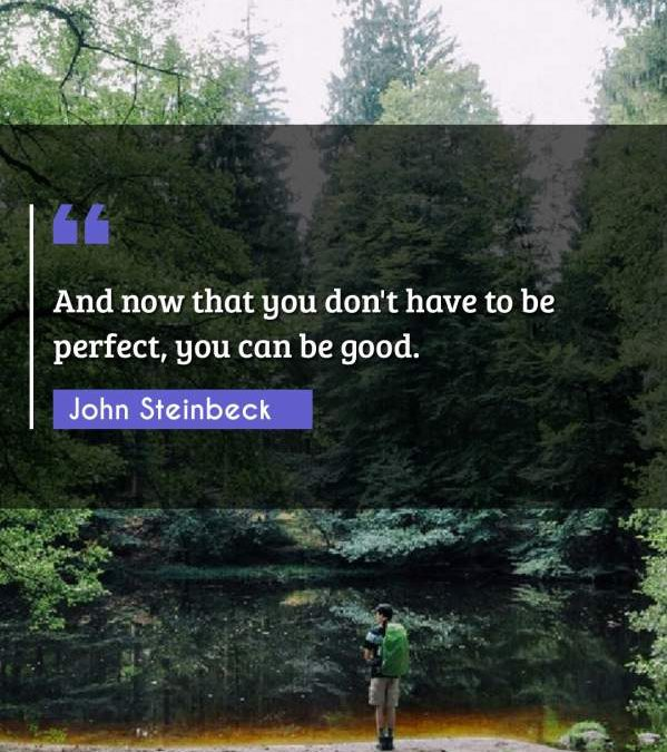 And now that you don't have to be perfect, you can be good.