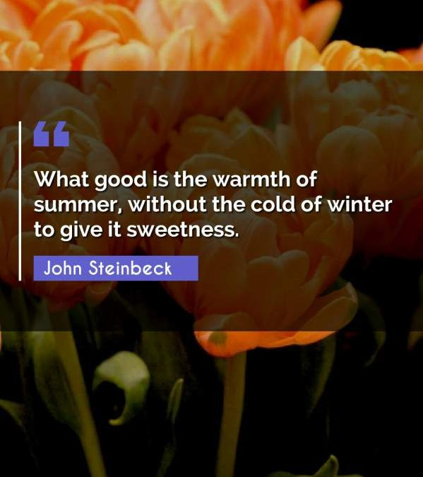What good is the warmth of summer, without the cold of winter to give it sweetness.