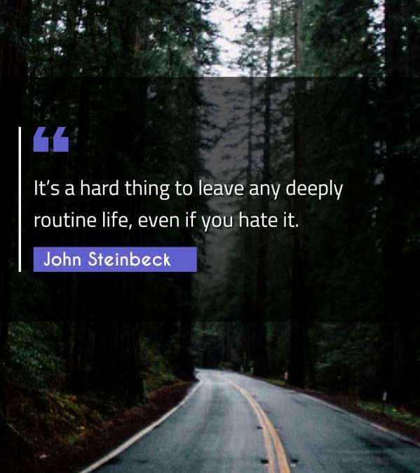 It's a hard thing to leave any deeply routine life, even if you hate it.