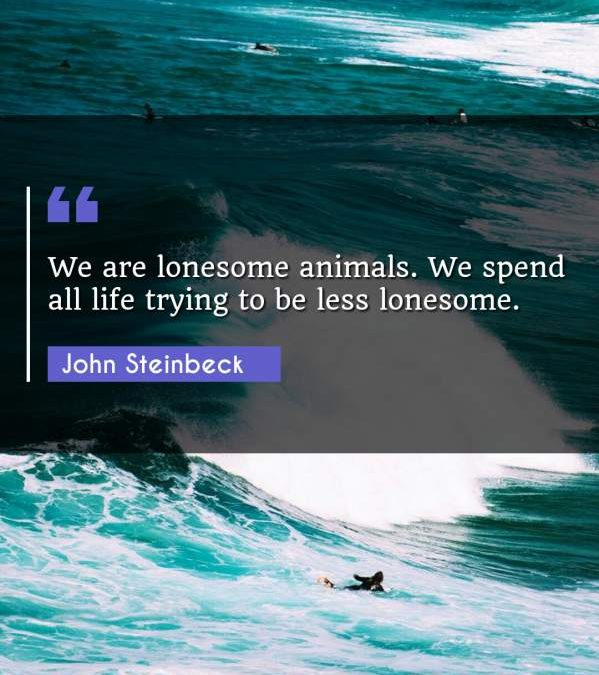 We are lonesome animals. We spend all life trying to be less lonesome.