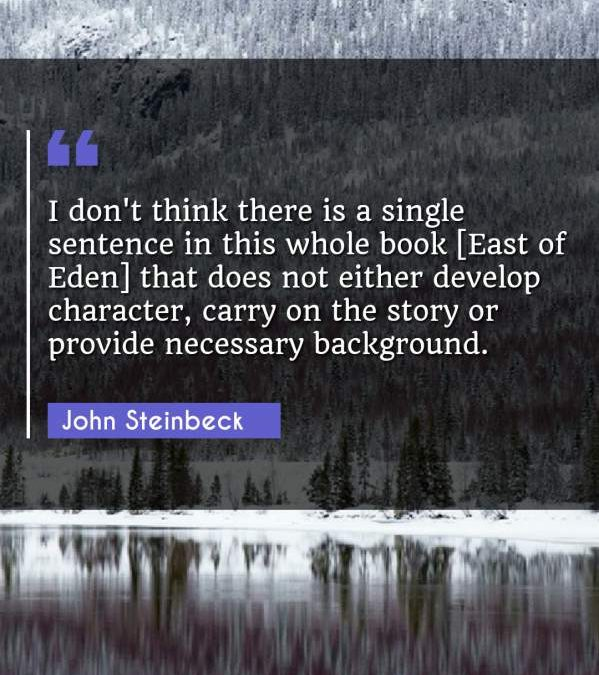 I don't think there is a single sentence in this whole book [East of Eden] that does not either develop character, carry on the story or provide necessary background.