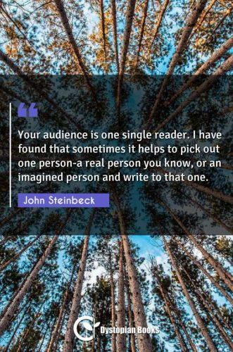 Your audience is one single reader. I have found that sometimes it helps to pick out one person-a real person you know, or an imagined person and write to that one.