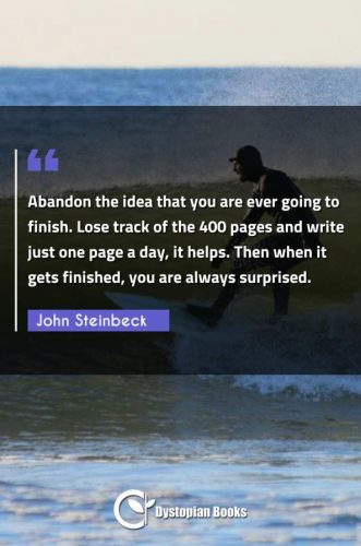 Abandon the idea that you are ever going to finish. Lose track of the 400 pages and write just one page a day, it helps. Then when it gets finished, you are always surprised.