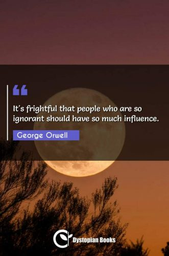 It's frightful that people who are so ignorant should have so much influence.